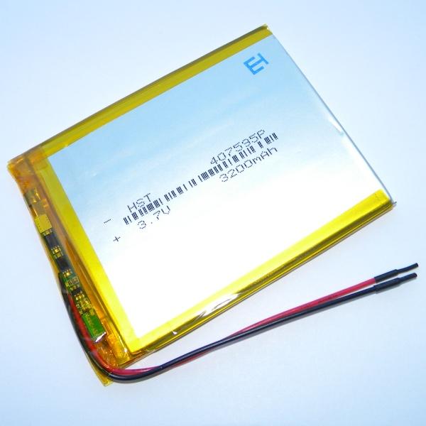 Аккумулятор для планшета - HST-407595P - 3200mAh 3.7v - размер 91мм на 70мм