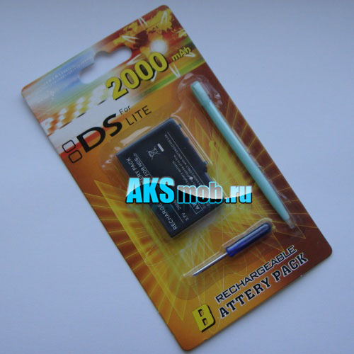 Аккумулятор 2000mah, отвертка и стилус для Nintendo DS Lite (NDSL)