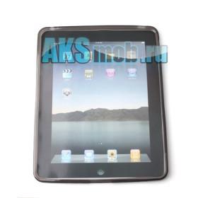 Силиконовый чехол для Apple iPad (черный прозрачный)