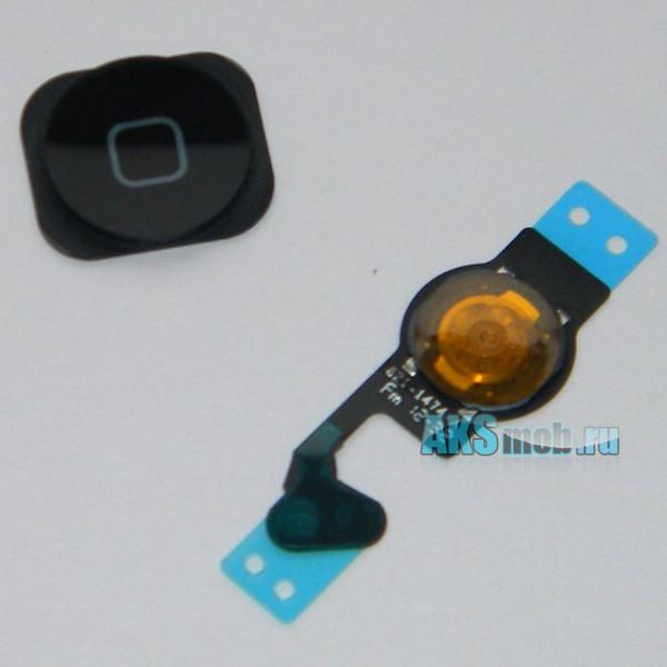 Кнопка основная Home в сборе со шлейфом для Apple iPhone 5 (A1428) - черная