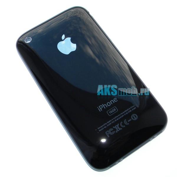 Корпус для Apple iPhone 3G (A1241 и A1324) с хромированной рамкой - задняя черная крышка