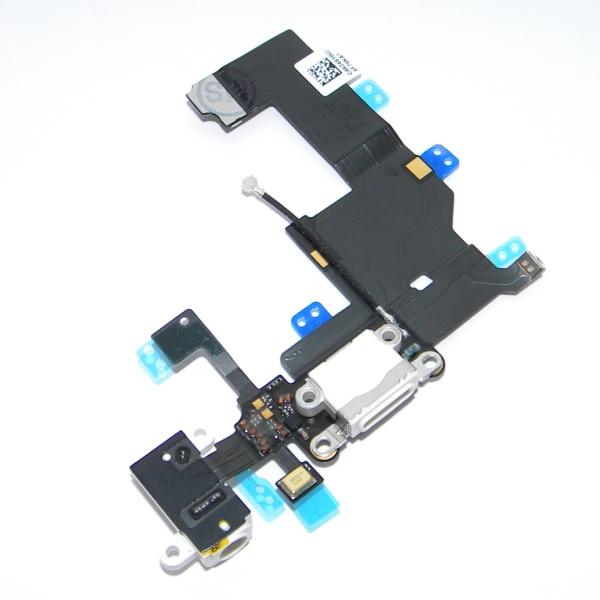 Шлейф 821-1417-A с разъемом зарядки и наушников для Apple iPhone 5 - connector system flex/Earphone flex - белый