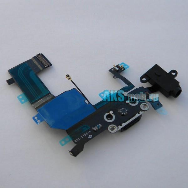 Шлейф 821-1705-A с разъемом зарядки, наушников, микрофоном и антенной для Apple iPhone 5C (A1456 / A1507 / A1529 / A1532) - черный Оригинал