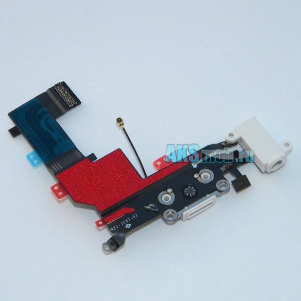 Шлейф 821-1667-07 с разъемом зарядки, наушников, микрофоном и антенной для Apple iPhone 5S (A1453 / A1457 / A1530 / A1533) - белый Оригинал