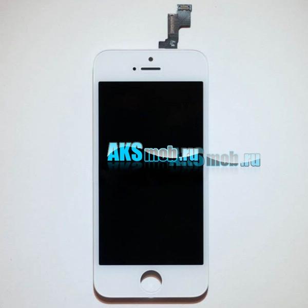 Дисплейный модуль (дисплей, тачскрин, стекло, рамка) белый для Apple iPhone 5S (A1453 / A1457 / A1530 / A1533)