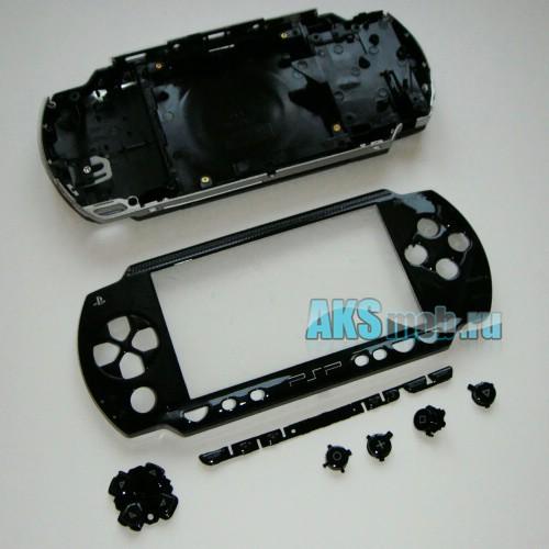 Корпус PSP 1000 Fat (черный, все кнопки, все крышки, заглушки) передняя и задняя части