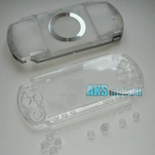 Корпус PSP 1000 Fat (прозрачный, все кнопки, вставки, крышки) передняя и задняя части