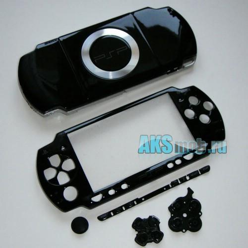 Корпус PSP 2000 Slim черный (передняя и задняя части)