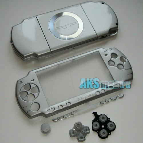 Корпус PSP 2000 Slim (серебро) передняя и задняя части