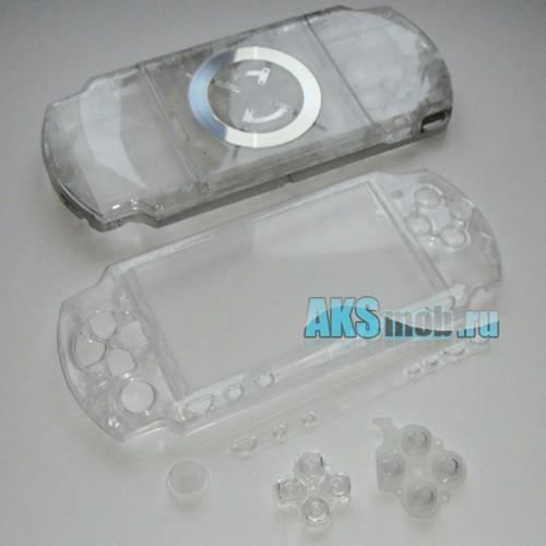 Корпус PSP 2000 Slim (прозрачный) передняя и задняя части