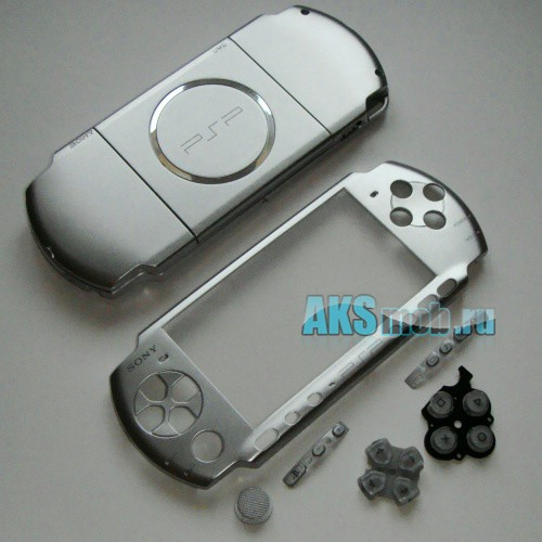 Корпус для PSP 3000 серебряный (передняя и задняя части)