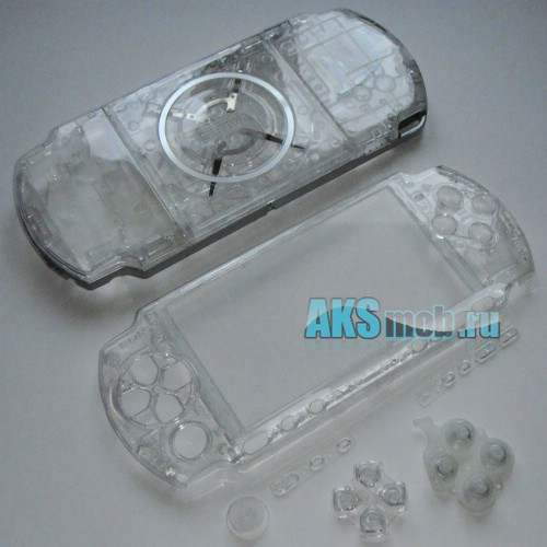 Корпус для PSP 3000 прозрачный (передняя и задняя части)