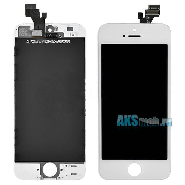 Дисплейный модуль (дисплей, тачскрин, стекло) белый для Apple iPhone 5 (A1428, A1429, A1442)