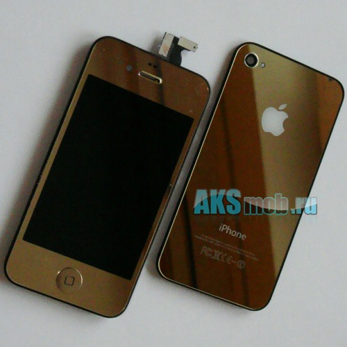 Дисплей с тачскрином в сборе, плюс крышка (золотой) для Apple iPhone 4G Оригинал