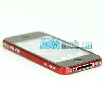 Бампер - накладка - ободок Cross-Line для iPhone 4/4S красный