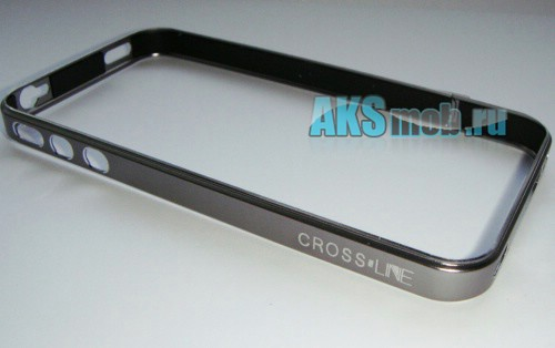 Бампер - накладка - ободок Cross-Line для iPhone 4/4S серый