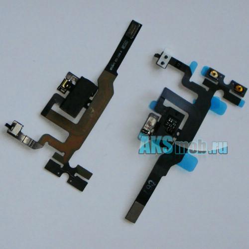 Шлейф с разъемом наушников и кнопками (черный) для Apple iPhone 4S Оригинал