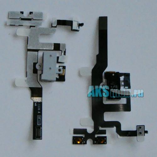 Шлейф с разъемом наушников и кнопками (белый) для Apple iPhone 4S Оригинал