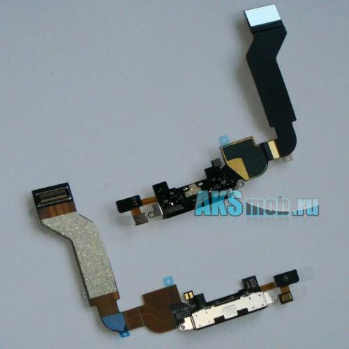 Шлейф с разъемом синхронизации и зарядки (черный) для Apple iPhone 4S Оригинал