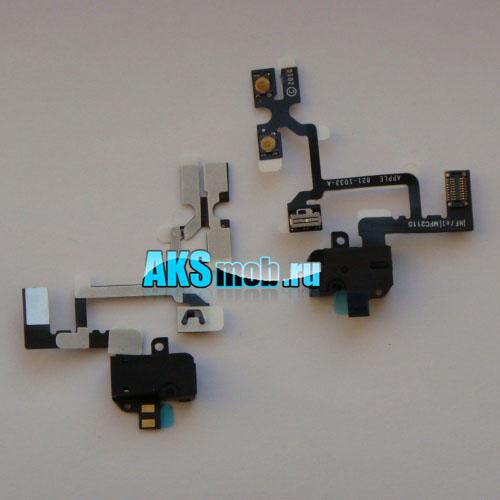 Шлейф с разъемом наушников и кнопками для Apple iPhone 4G Оригинал