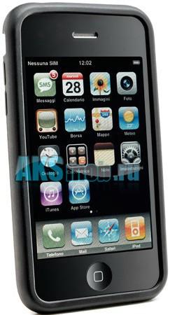 Силиконовый чехол для iPhone 4/4S - черный