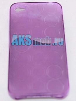 Силиконовый чехол для iPhone 4/4S - круги - фиолетовый
