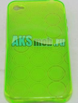 Силиконовый чехол для iPhone 4/4S - круги - зеленый
