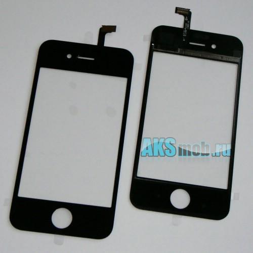 Тачскрин и стекло (черный) для Apple iPhone 4S Оригинал