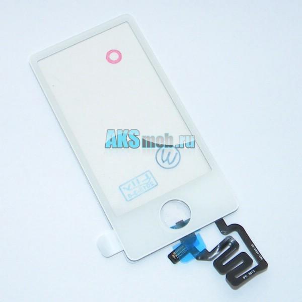 Тачскрин (сенсорное стекло) для Apple iPod Nano 7gen a1446 с кнопкой - белый - Оригинал