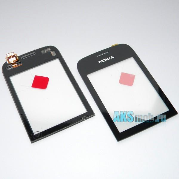 Тачскрин (Сенсорное стекло) для Nokia Asha 202 Black Оригинал