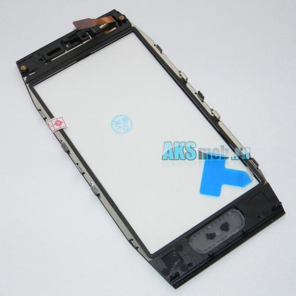 Тачскрин (Сенсорное стекло) для Nokia X7 с передней панелью и кнопкой - черный